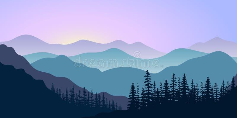 Ajardine con las siluetas de montañas y del bosque en la salida del sol Ilustración del vector stock de ilustración