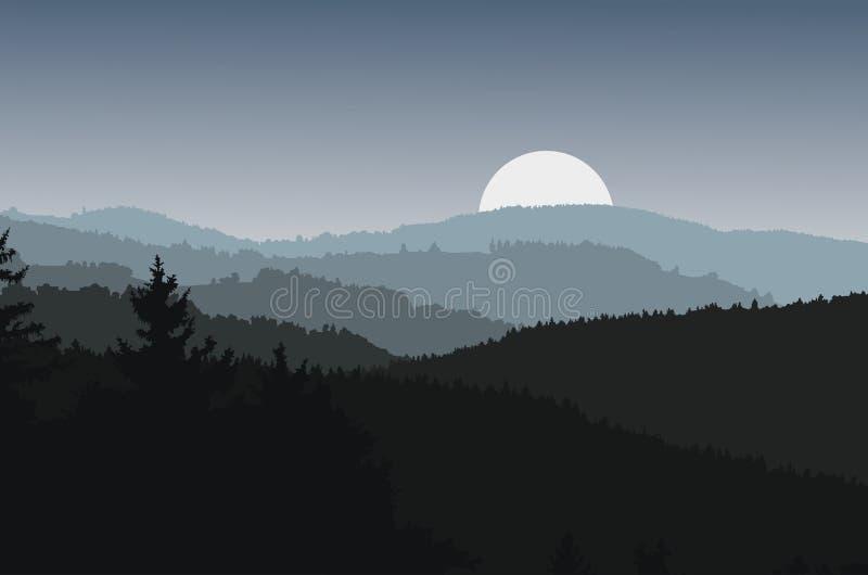 Ajardine con las siluetas oscuras de colinas y de la luna ilustración del vector