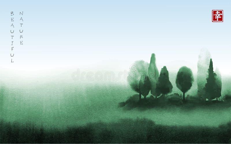 Ajardine con los árboles verdes en la mano de la niebla dibujada con tinta en estilo asiático Prado brumoso verde y cielo azul tr ilustración del vector