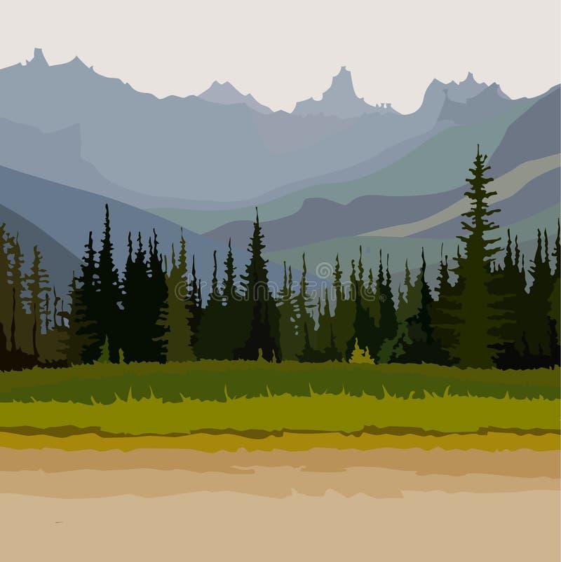 Ajardine el camino, montañas coníferas del bosque en el fondo stock de ilustración