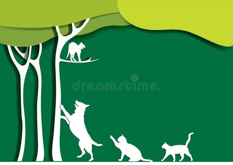 Ajardine el diseño con el gato en un árbol, perro, gatos estilo de papel del arte Ilustración del vector libre illustration