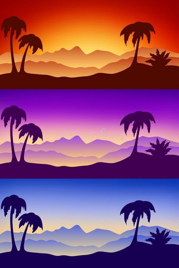 Ajardine el ejemplo de la salida del sol de la puesta del sol de la palma de la naturaleza de la silueta del desierto libre illustration
