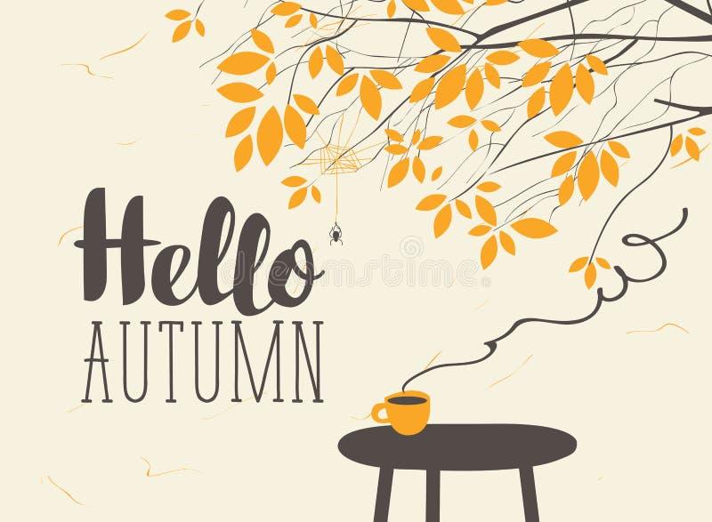 Ajardine en tema del otoño con la taza en la tabla libre illustration