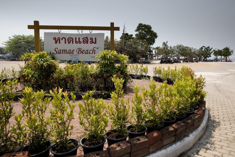 Ajardine a foto da praia de Samae na ilha do Lan de Ko no Golfo da Tailândia perto de Pattaya imagem de stock royalty free