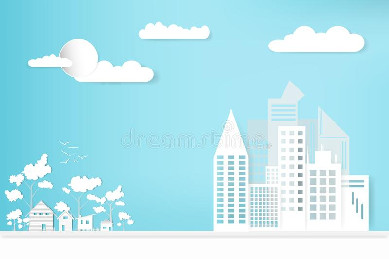 Ajardine la ciudad y la casa de la ciudad con el fondo de la nube del cielo crecimiento del concepto en el campo estilo de papel  libre illustration