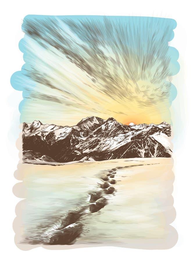 Ajardine la postal que representa picos de montaña nevosos en la puesta del sol ilustración del vector