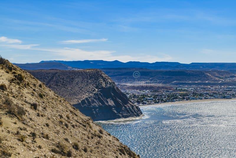 Ajardine la visión desde Punta del Marquez Viewpoint, Chubut, Argenti foto de archivo
