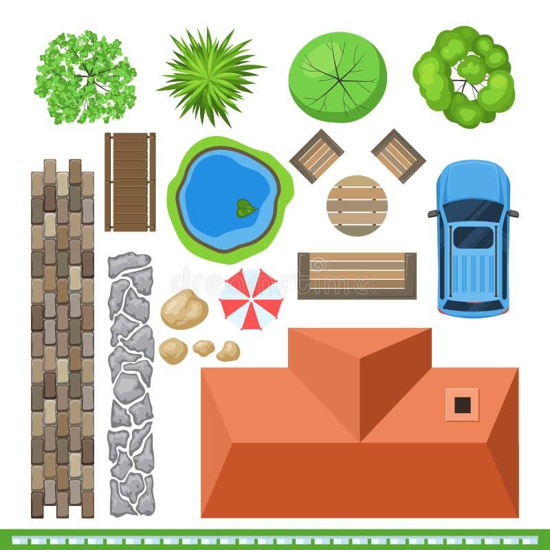Ajardine los elementos para el diseño de proyecto, visión superior libre illustration
