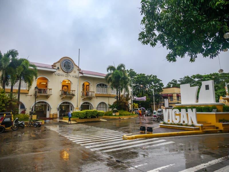 Ajardine na frente da cidade em um dia chuvoso, cidade de Vigan de Vigan, Filipinas, agosto 24,2018 foto de stock