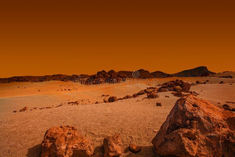 Ajardine no planeta Marte, cena cênico do deserto no planeta vermelho imagem de stock