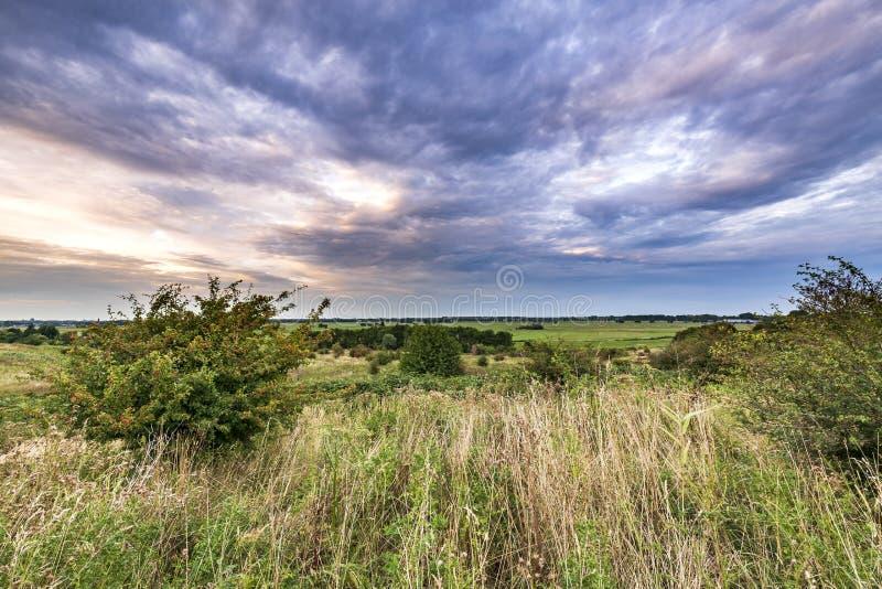 Ajardine o cenário durante o por do sol nebuloso dramático em Buytenpark, Z fotografia de stock royalty free