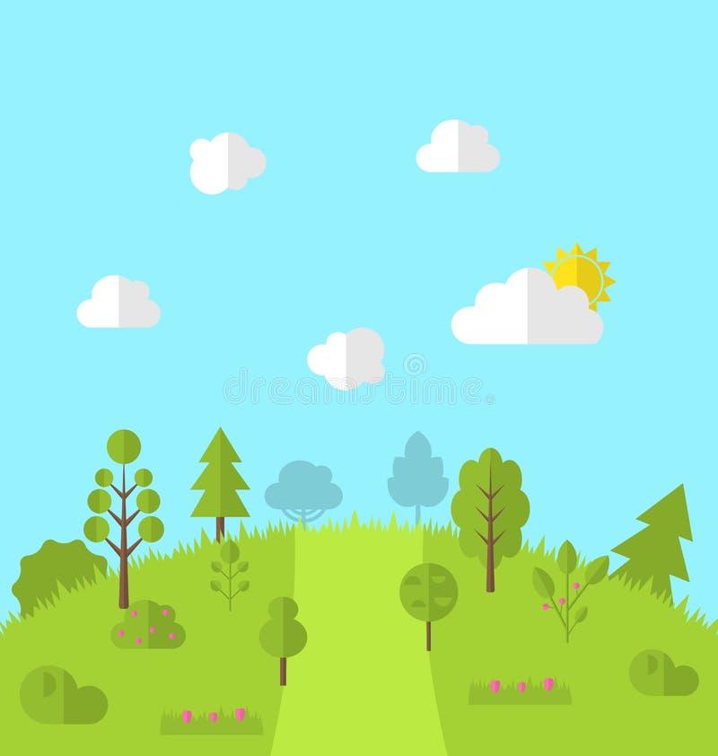 Ajardine o fundo da opinião da cena da terra da floresta do monte do vale das madeiras ilustração do vetor