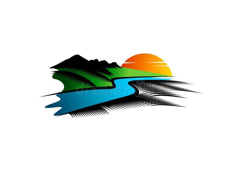 Ajardine o logotipo, o símbolo do rio, a ilustração da montanha, o ícone do parkland da natureza e o projeto de conceito da vista ilustração stock