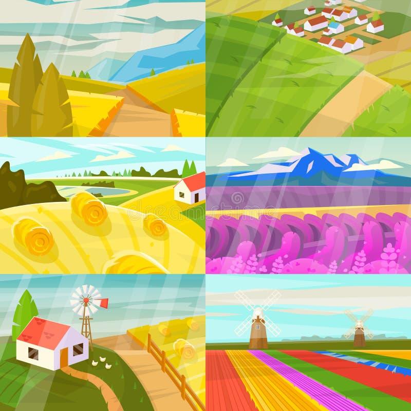 Ajardine o vetor que ajardina o campo de campos e de terras dos prados com ideia ensolarada ajardinada natural do grupo do país ilustração royalty free