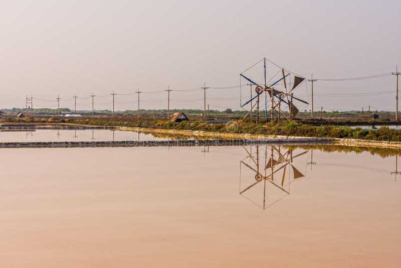 Ajardine a vista da lagoa da evaporação de sal e da roda de vento foto de stock