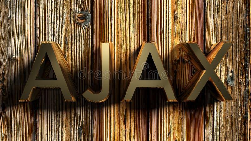 AJAX-het messing schrijft op houten achtergrond - het 3D teruggeven stock illustratie