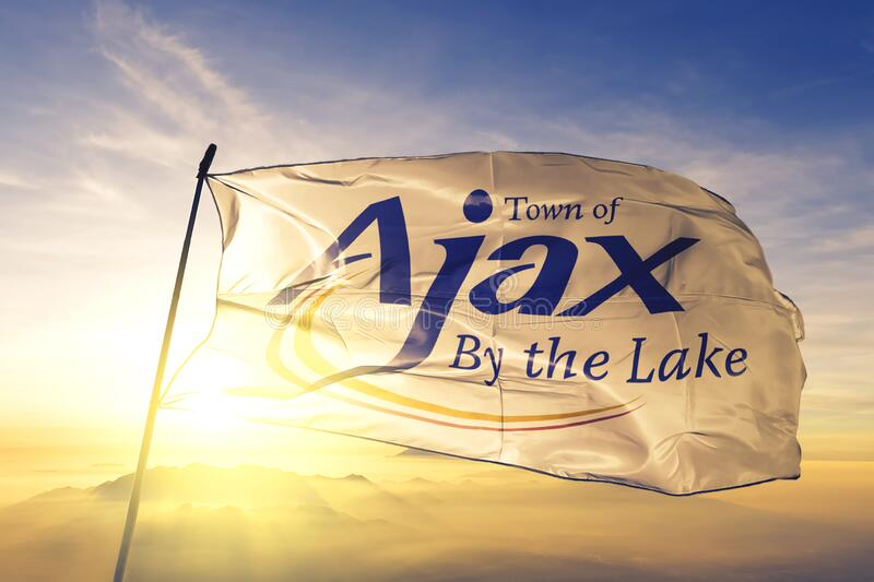 Ajax of Ontario of Canada flag waving on the top sunrise mist fog. Ajax of Ontario of Canada flag textile cloth fabric waving on the top sunrise mist fog stock image
