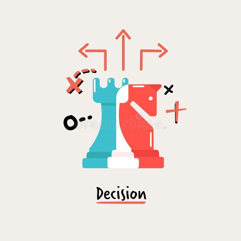 Ajedrez de Dicision concepto de la gestión de negocio - vector stock de ilustración