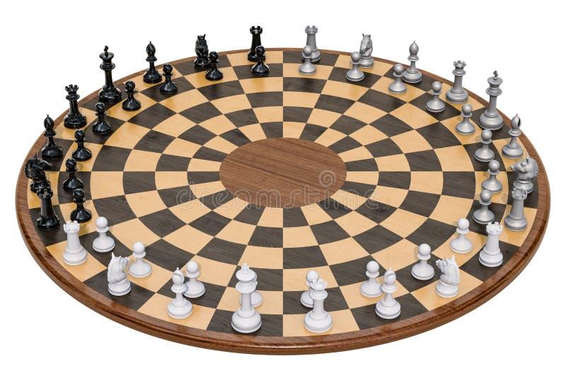 Ajedrez de madera de tres jugadores representación 3d ilustración del vector