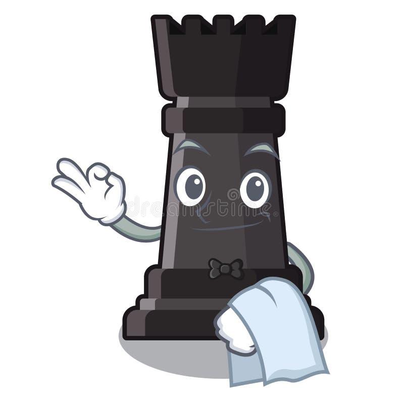 Ajedrez del grajo del camarero en la forma de carácter ilustración del vector