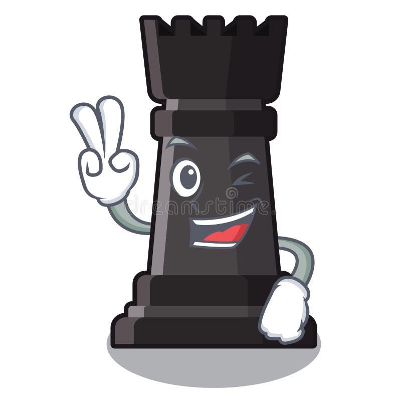 Ajedrez del grajo de dos fingeres aislado en la mascota ilustración del vector