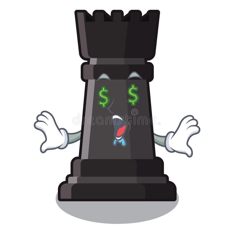 Ajedrez del grajo del ojo del dinero en una silla de la historieta libre illustration