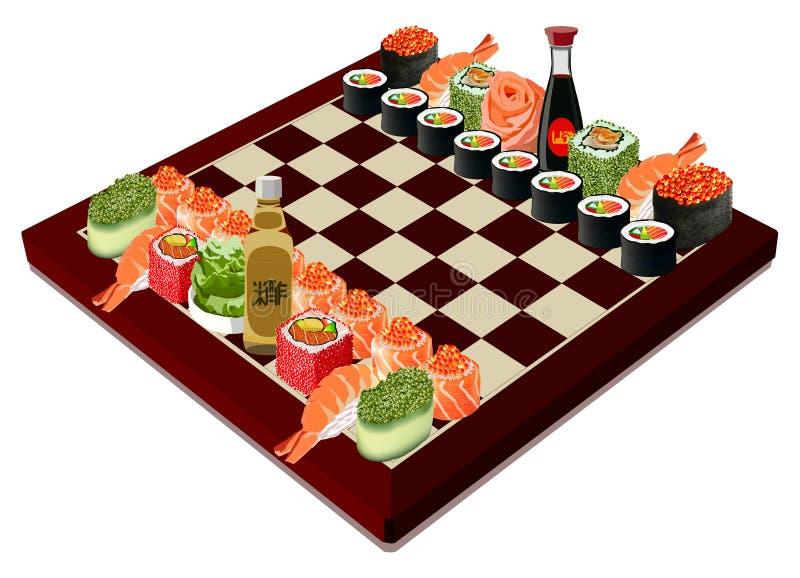 Ajedrez del sushi, ejemplo del vector ilustración del vector