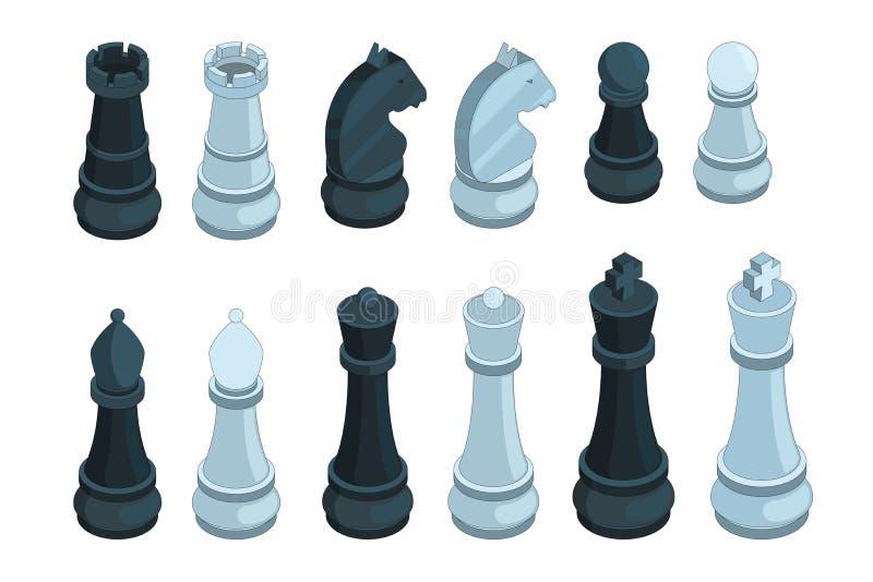Ajedrez isométrico Las figuras imágenes del juego de mesa del vector 3d de la estrategia del obispo de reina del pedazo fijaron a ilustración del vector