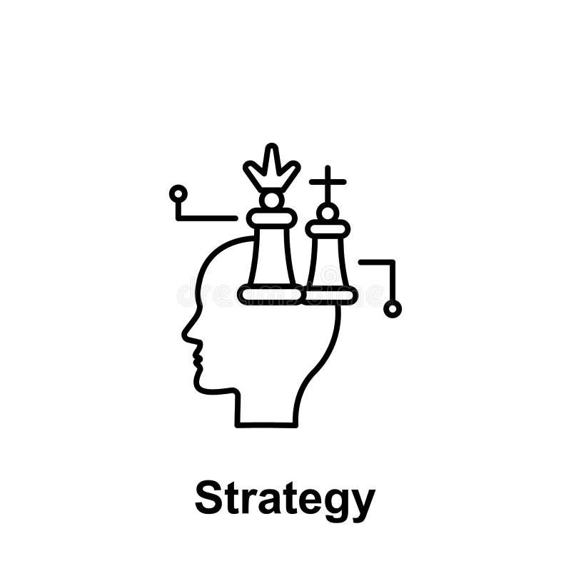 Ajedrez, márketing, icono del cerebro Elemento del nombre creativo del witn del icono del thinkin Línea fina icono para el diseño stock de ilustración