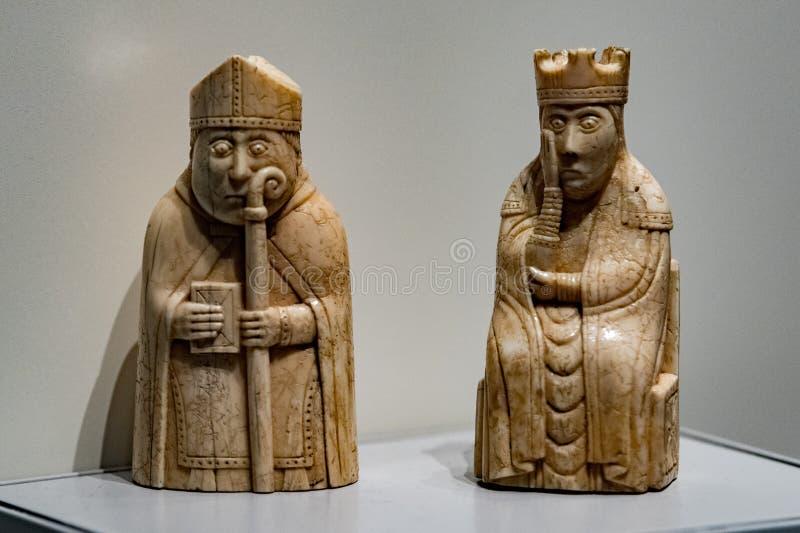 Ajedrez medieval del museo británico imagen de archivo libre de regalías