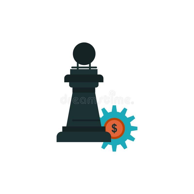 Ajedrez, negocio, estrategia, icono plano del color del éxito Plantilla de la bandera del icono del vector stock de ilustración