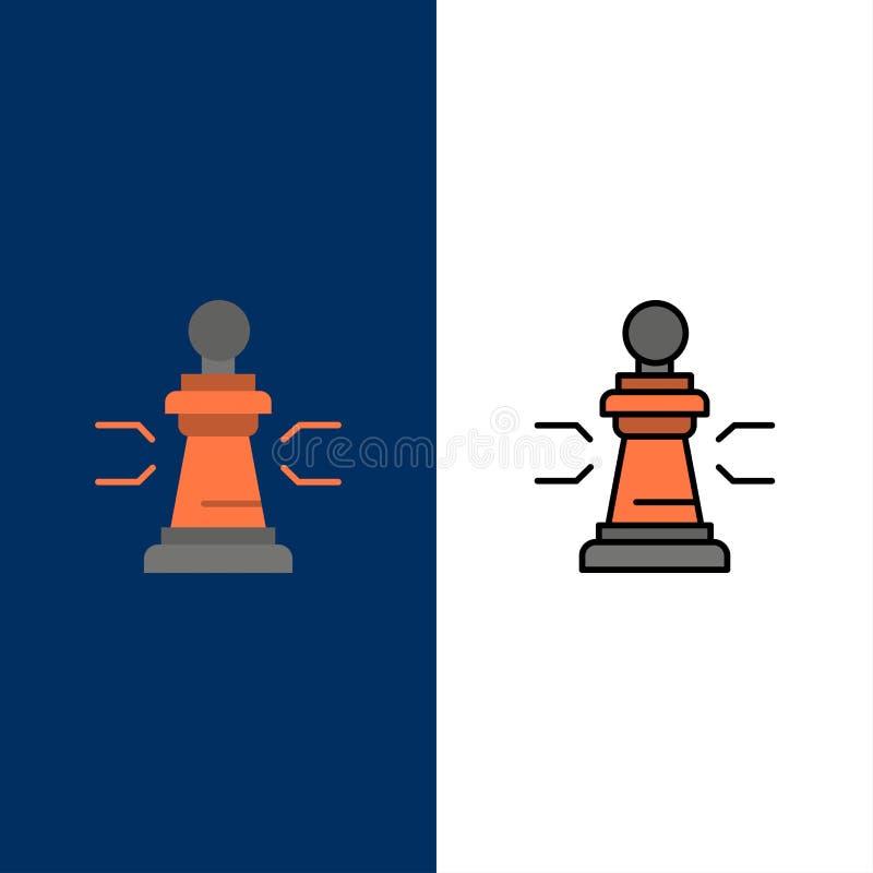 Ajedrez, ventaja, negocio, figuras, juego, estrategia, iconos de la táctica El plano y la línea icono llenado fijaron el fondo az stock de ilustración