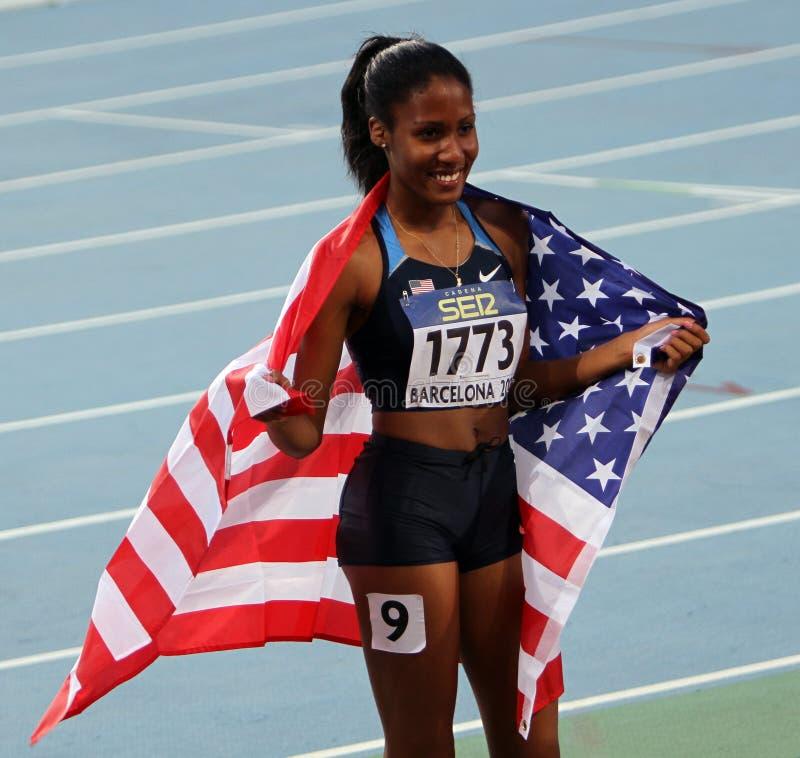 Ajee Wilson der Sieger der 800 Meter stockfotografie