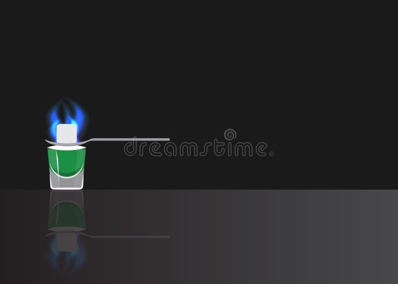 Ajenjo con el azúcar ardiente en fondo duplicado negro stock de ilustración