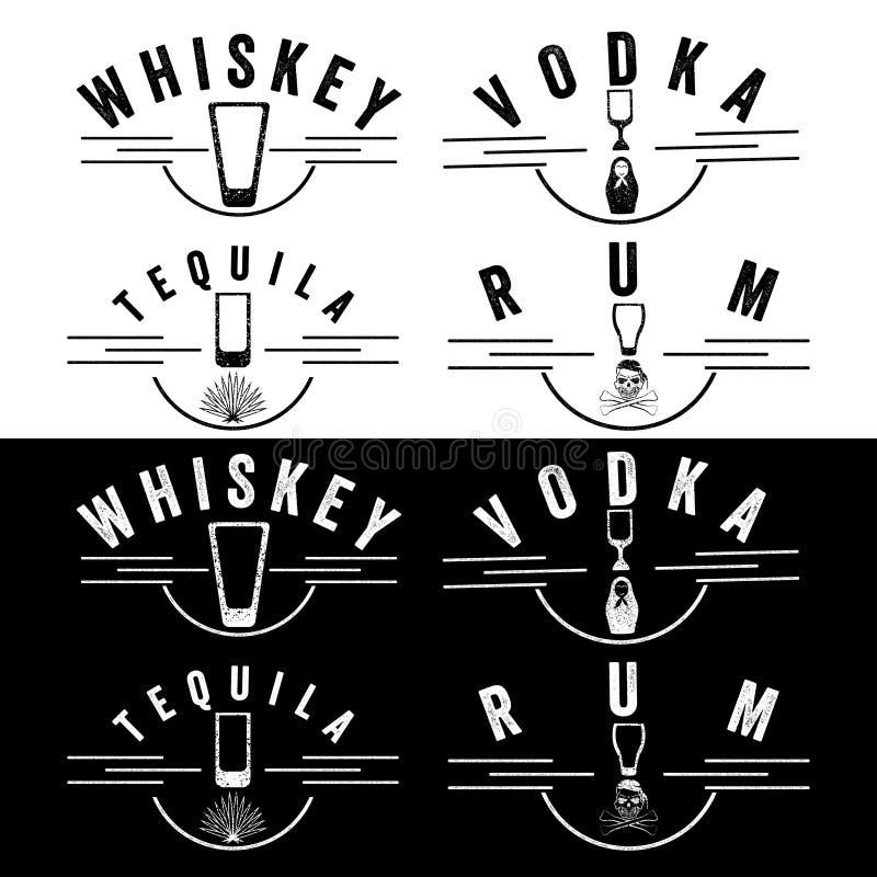 Ajerówki i tequila rocznika etykietki ustawiać ilustracji