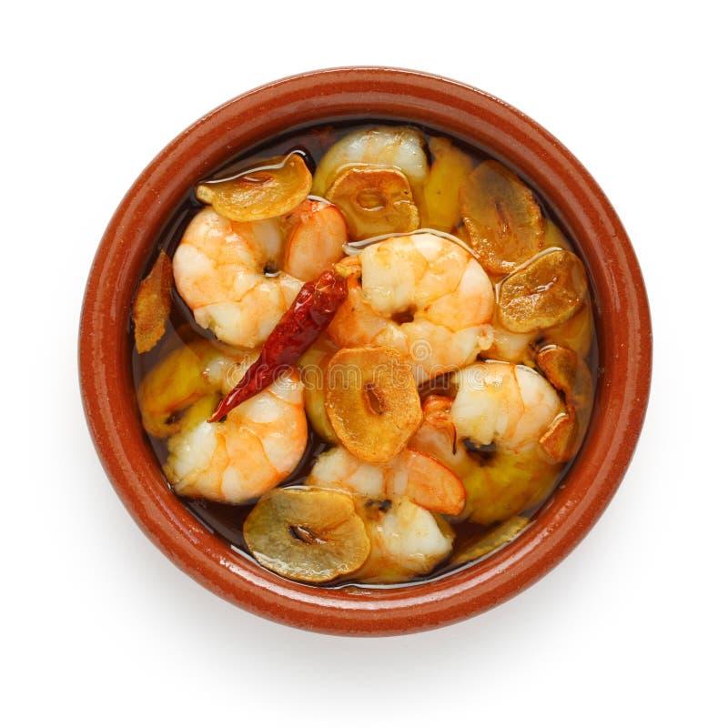 Ajillo di Al dei gamberi, gamberetti dell'aglio, tapas spagnoli immagini stock libere da diritti