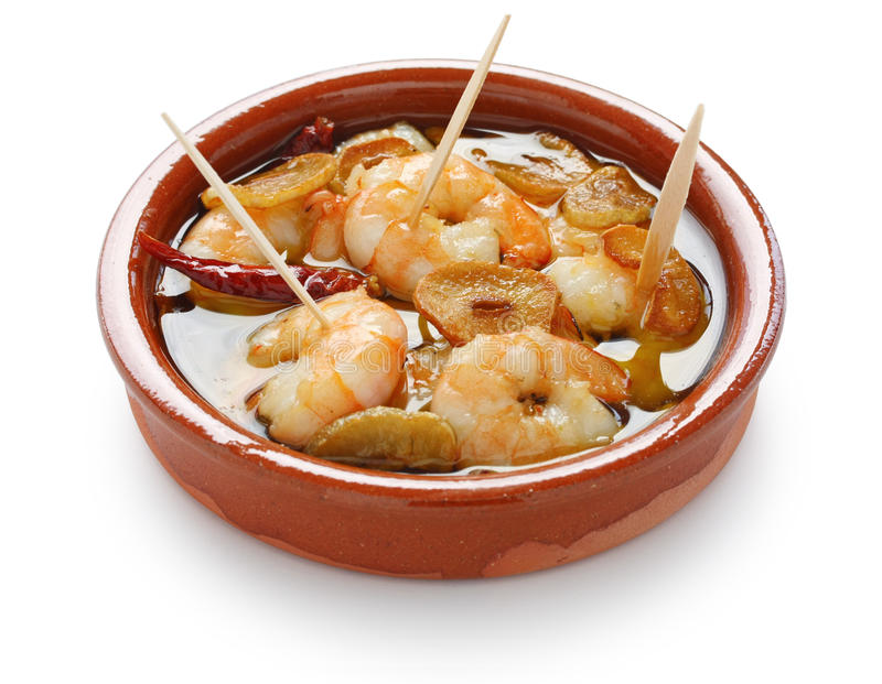 Ajillo di Al dei gamberi, gamberetti dell'aglio, tapas spagnoli fotografie stock libere da diritti