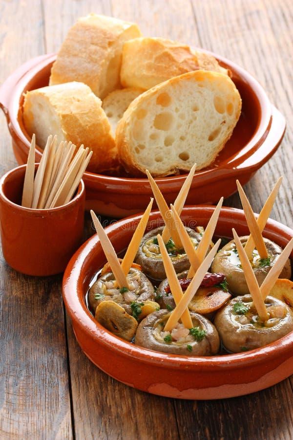 Ajillo di Al di Champinones, funghi dell'aglio fotografia stock libera da diritti