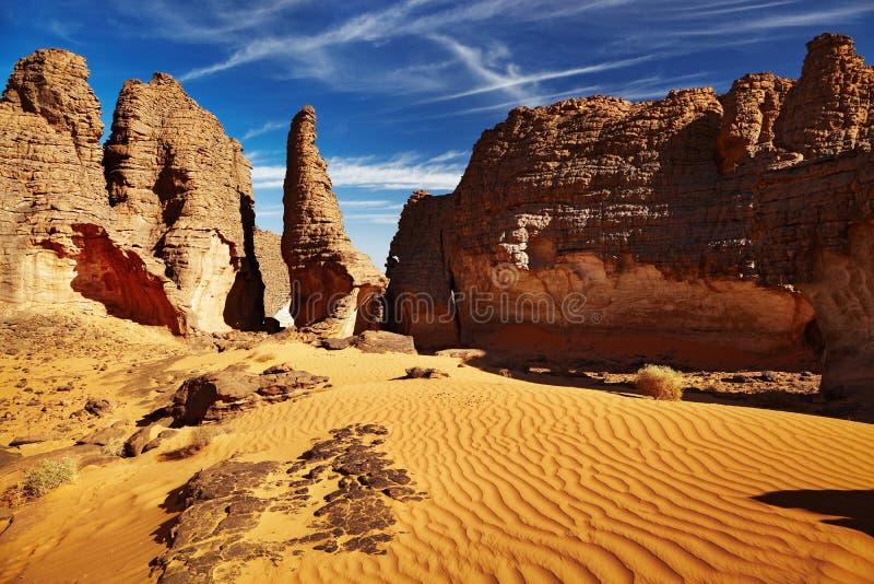 ajjer Algeria pustynny n Sahara tassili zdjęcia stock