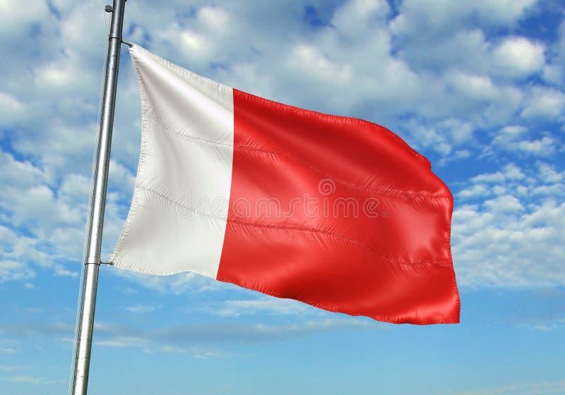 Ajman en de vlag die van Doubai met hemel op realistische 3d illustratie als achtergrond golven stock illustratie