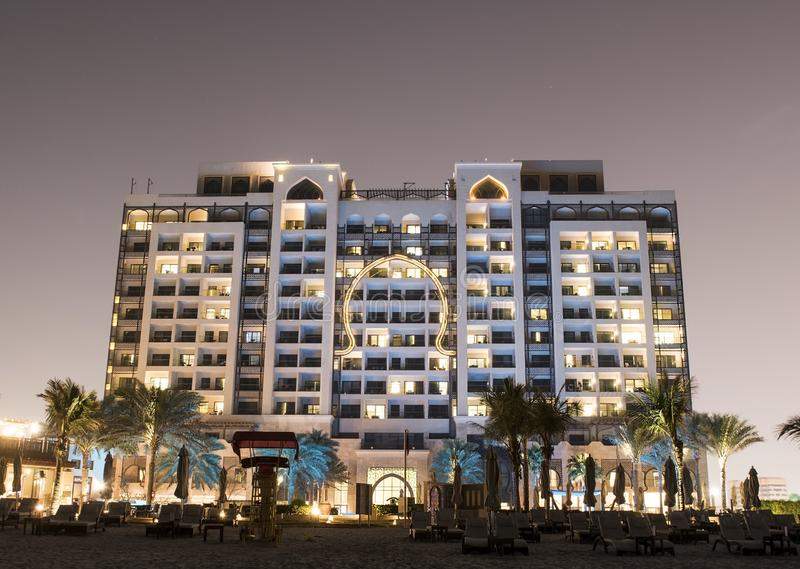 Comfortable hotel on the Persian Gulf. Night royalty free stock image