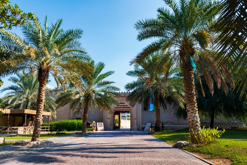 Ajman, Verenigde Arabische Emiraten - 6 December, 2018: Sho van het Ajmanmuseum stock afbeeldingen