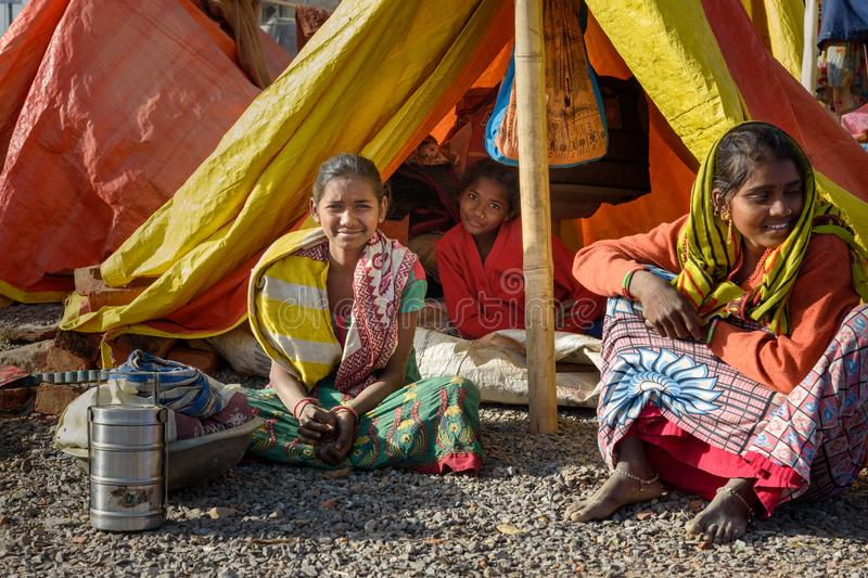 Poor people come with family to the city from the village for work. And they living in the street in tent home. Ajmer. Rajasthan. Ajmer, India - February 07 royalty free stock images
