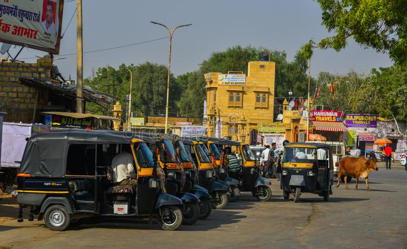 Tuk tuk taxis waiting at main square royalty free stock images