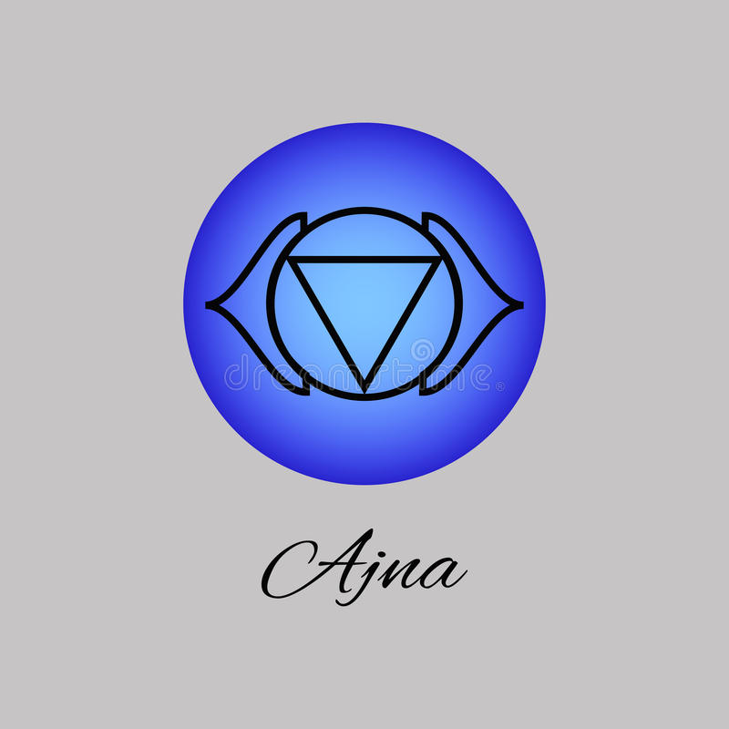 Ajna. Third eye chakra. Sixth Chakra symbol of human. royalty free illustration