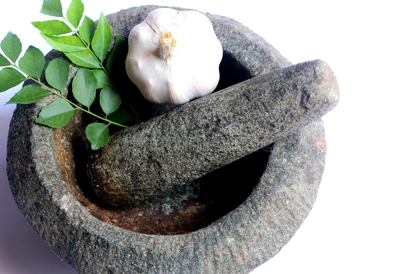 Ajo y hojas frescas del curry en el mortero y la maja de piedra fotos de archivo libres de regalías