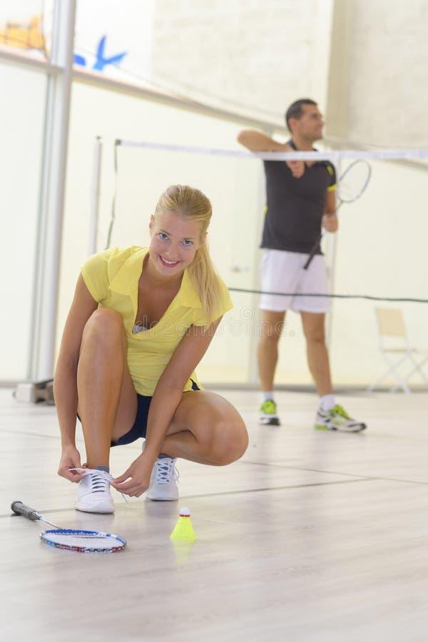 Ajouter à l'équipement de badminton d'ensemble photos libres de droits
