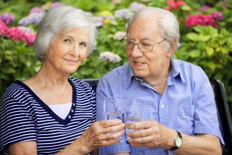 Ajouter aînés aux glaces de boissons photographie stock