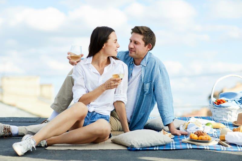 Ajouter affectueux au vin sur le toit image libre de droits