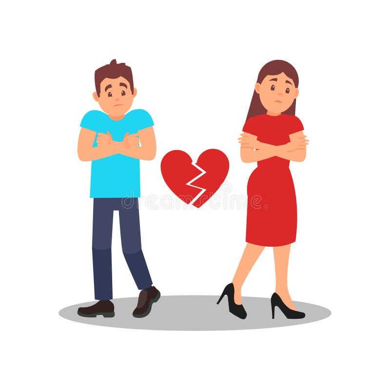 Ajouter au coeur cassé Jeune femme et homme avec des expressions de visage de renversement Problèmes dans les relations Conceptio illustration stock